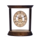 """""""Miami"""" Clock, Skelton Movement, Walnut Wood and Gold Plated,"""