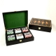 Card and Chips Set with 300, 11.5 grams Chips, Two Decks of Cards & Poker Dice. Inlaid in a Lacquer Wood Box