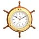 """13 1/2"""" Brass/Oak Ship's Wheel, Clock,"""