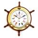 Brass Porthole Clock on Oak Ship's Wheel w/Nautical Numbers,