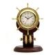 Brass Ships Wheel Clock w/Rope on Teakwood Base,