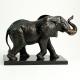Brass Elephant Sculpture on Wood Base.