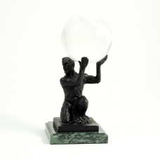 Atlas Ball Holder, Bronze Finished on Marble,