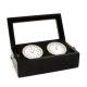 Chrome Clock & Thermometer in Black Box w/ Glass Top,