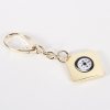 Key Ring w/ Compass, Gold Plated,